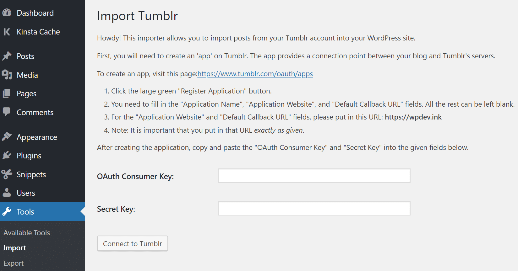 Import Tumblr settings