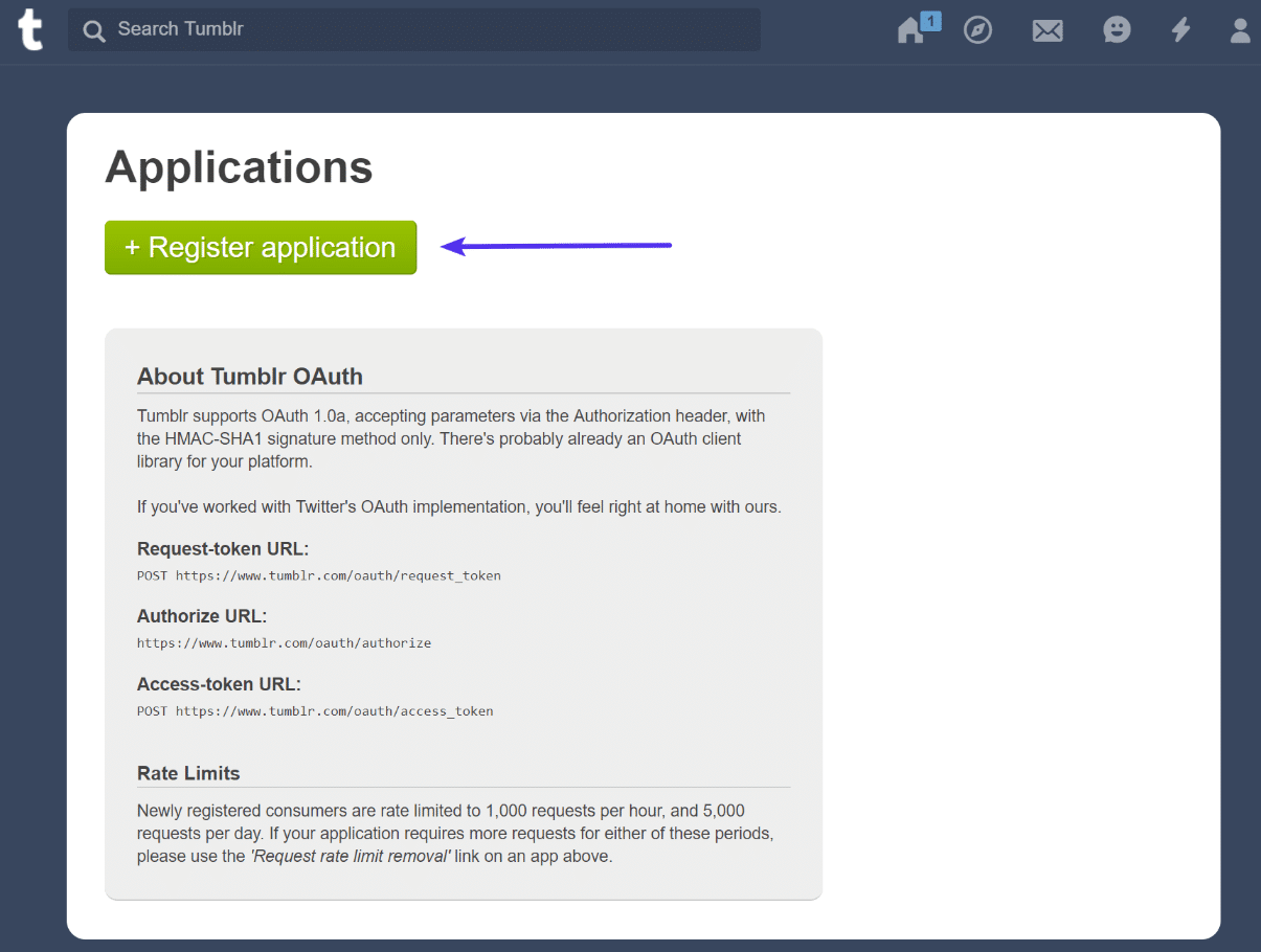 Register Tumblr application