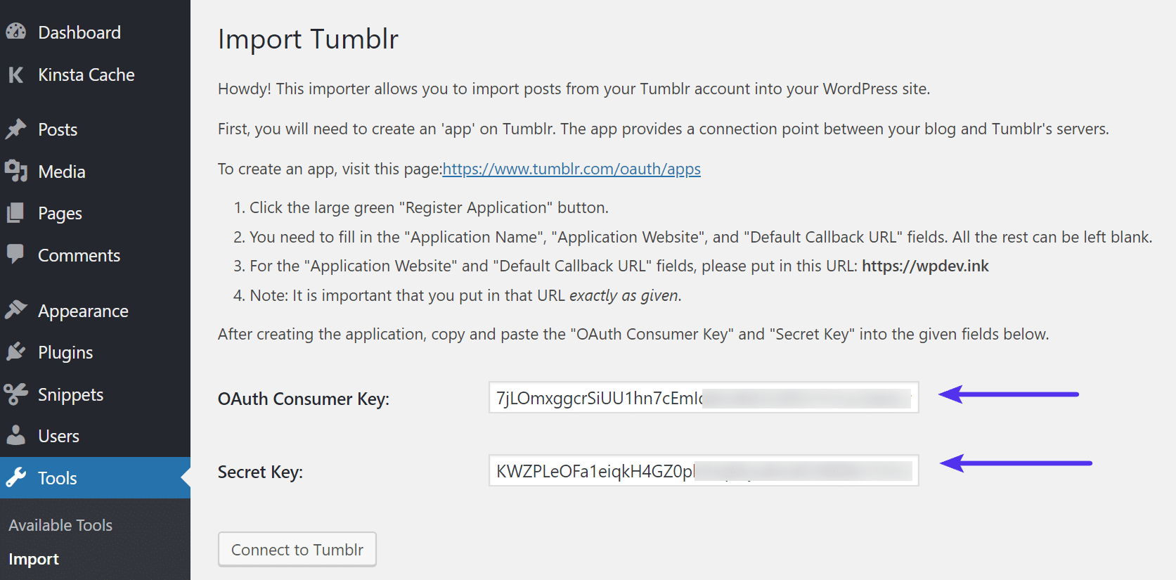 Tumblr application keys