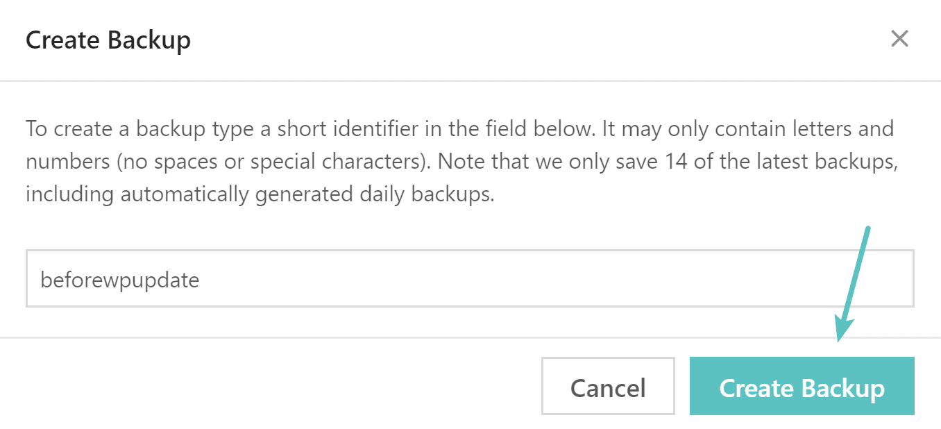 Name WordPress backup