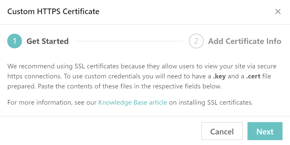 Custom HTTPS certificate step 1