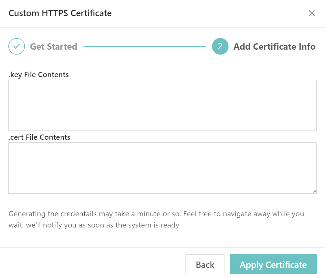 Custom HTTPS certificate step 2