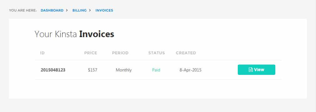 Kinsta hosting invoices