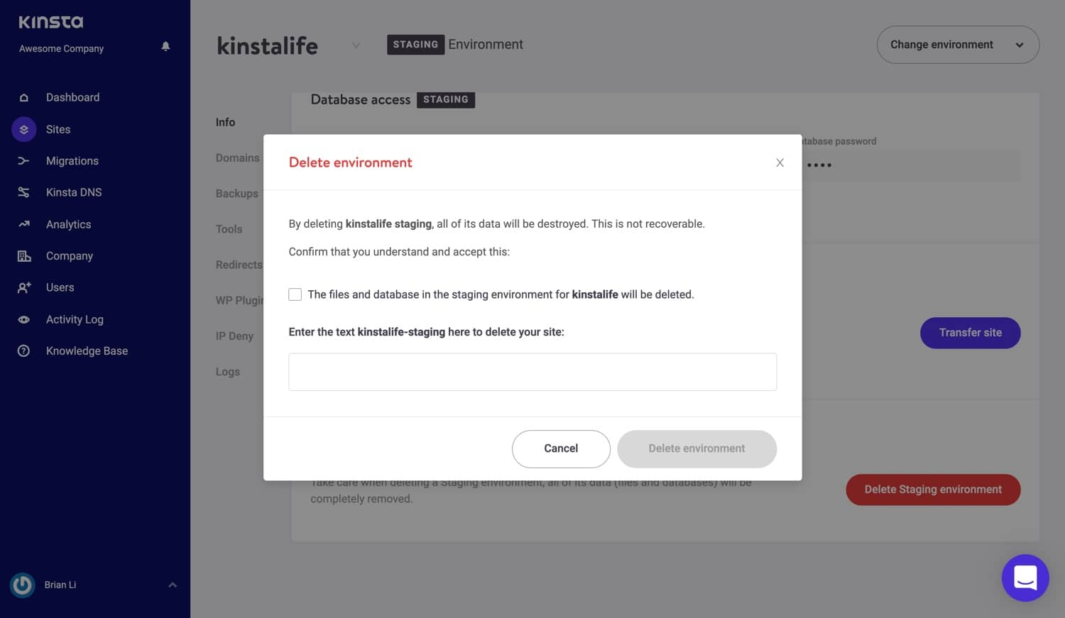 Delete a staging environment in MyKinsta.