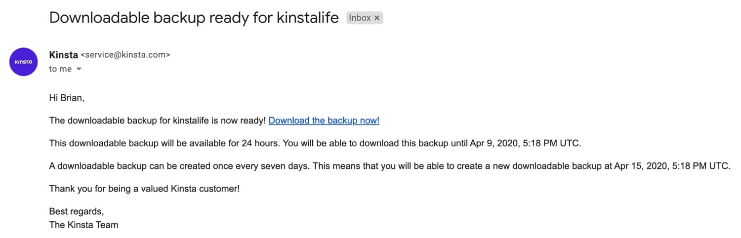 Downloadable backup notification email.