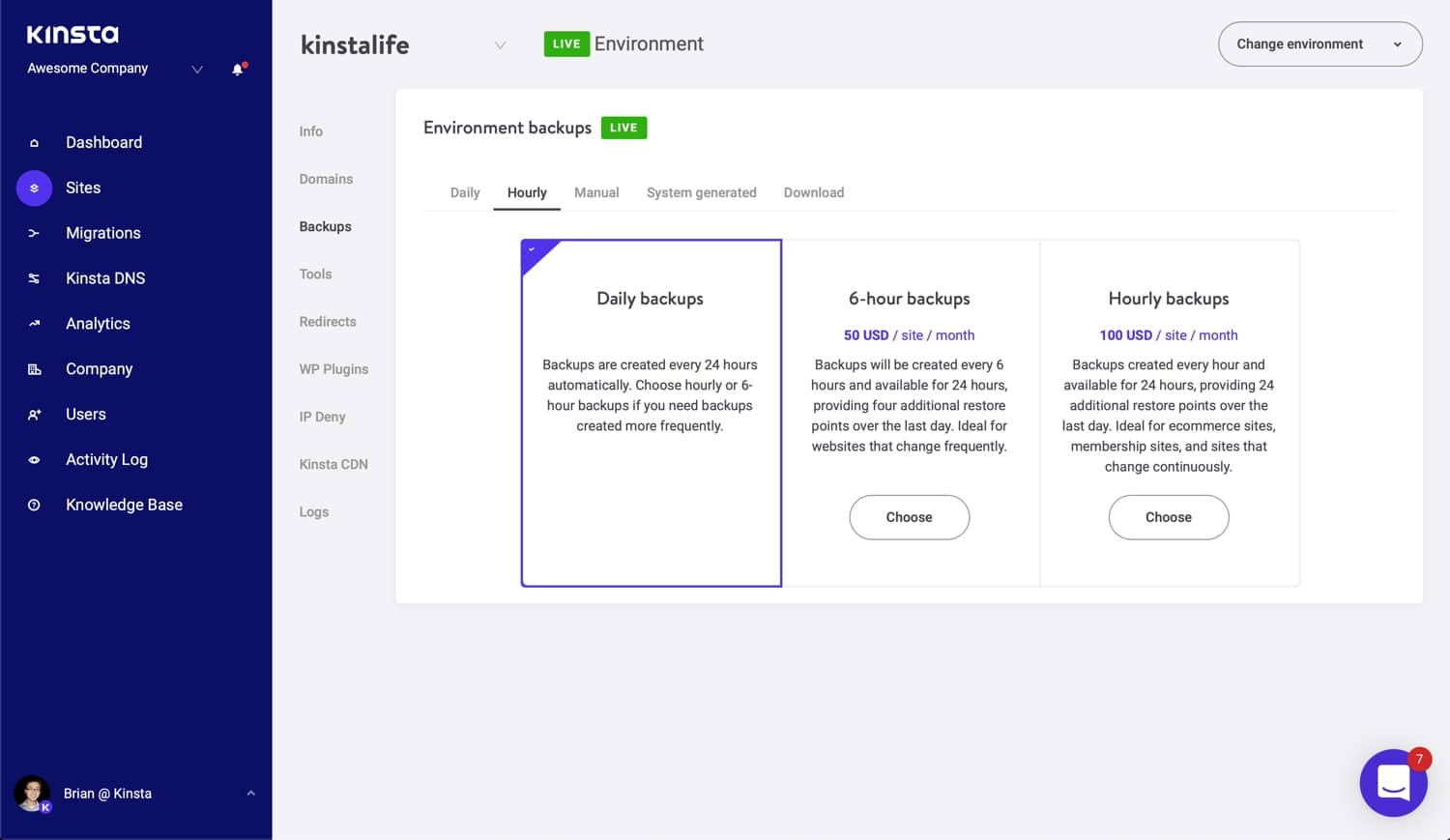 Hourly backup option in MyKinsta.