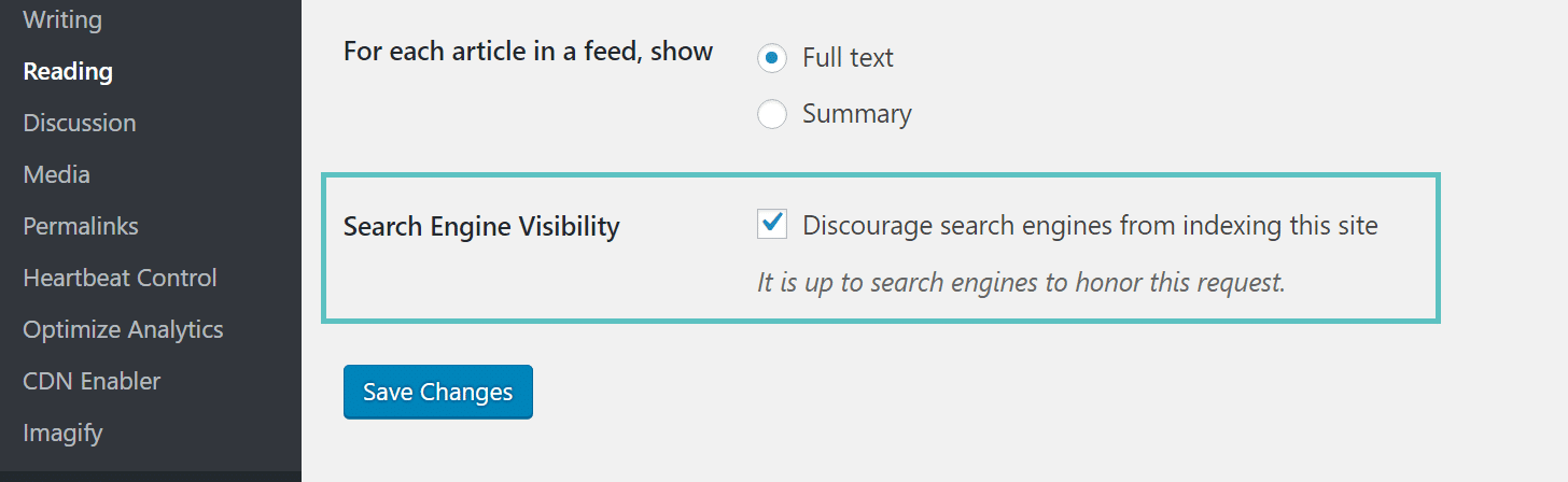 wordpress staging disable indexing