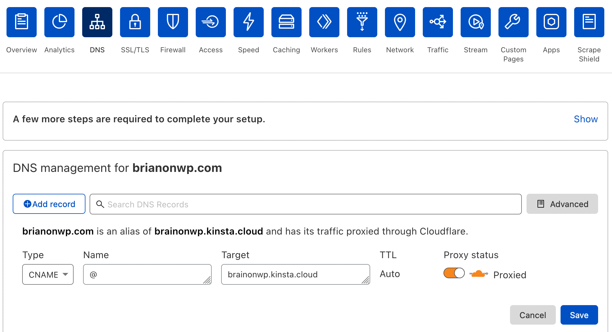 Add a CNAME for your root domain in Cloudflare.