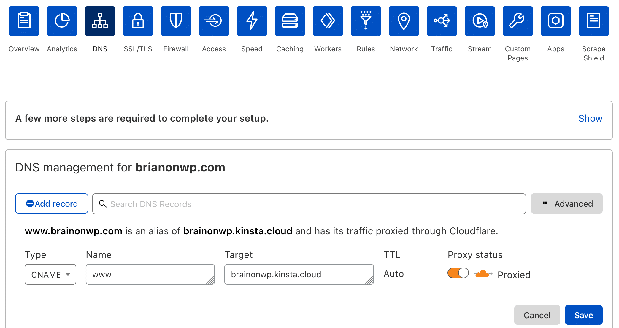 Create a CNAME record for your www domain at Cloudflare.