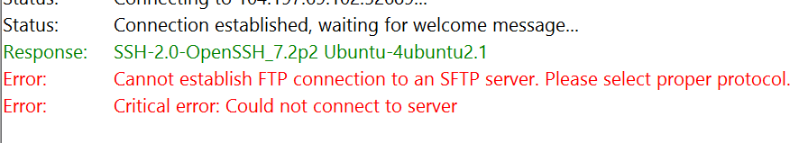 cannot establish ftp connection