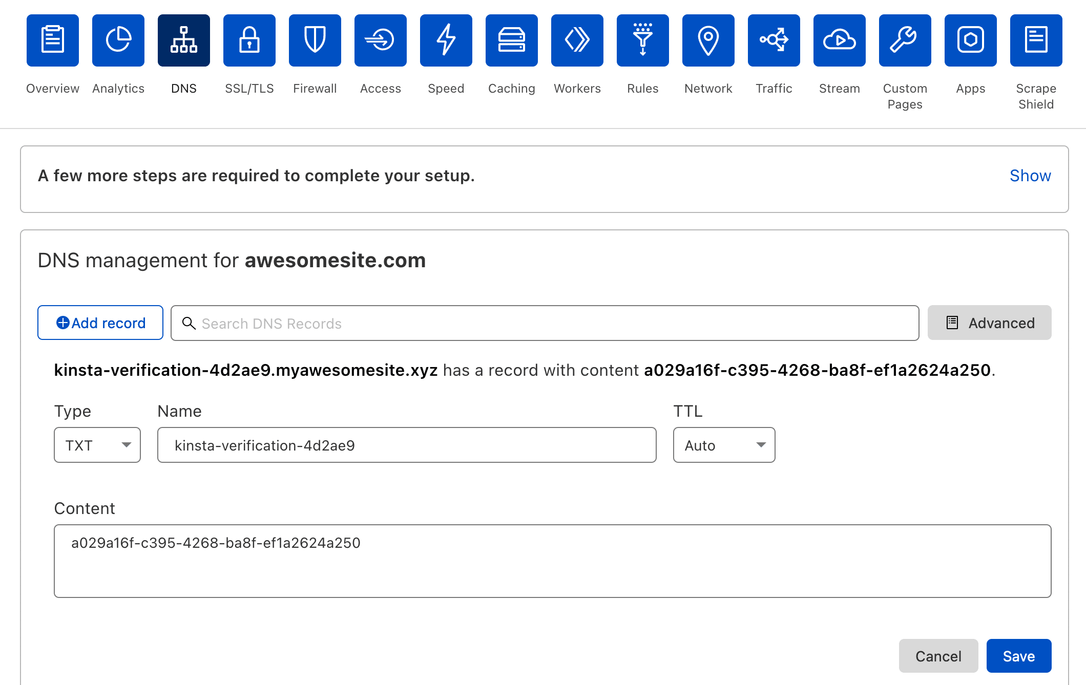 Add domain verification TXT record in Cloudflare.
