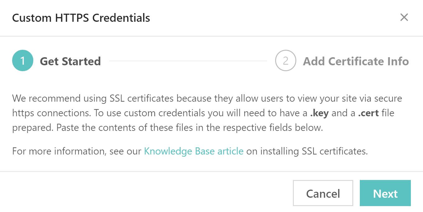Custom HTTPS credentials