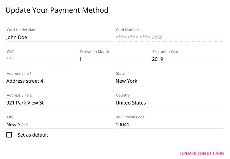 Modify payment method