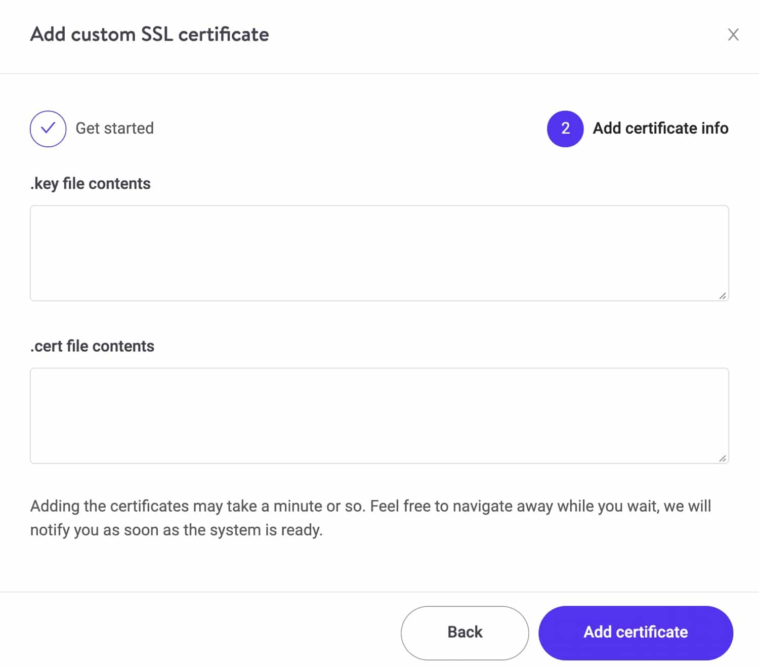 Apply custom SSL certificate.