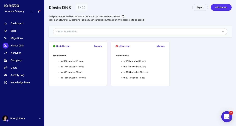 Domaines du serveur de noms DNS de Kinsta.