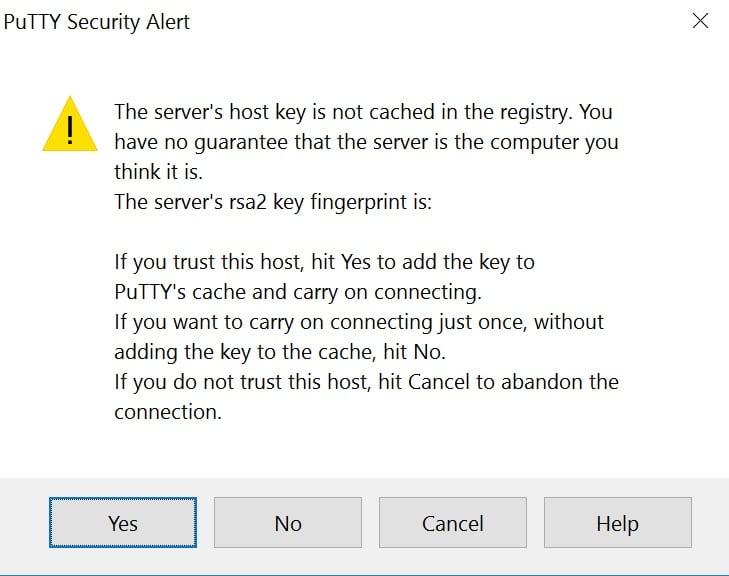 Alerte de sécurité de PuTTY concernant la clé rsa2.