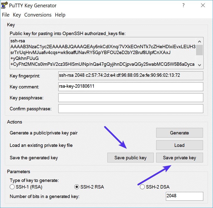 Save public and private keys from PuTTY Key Generator.