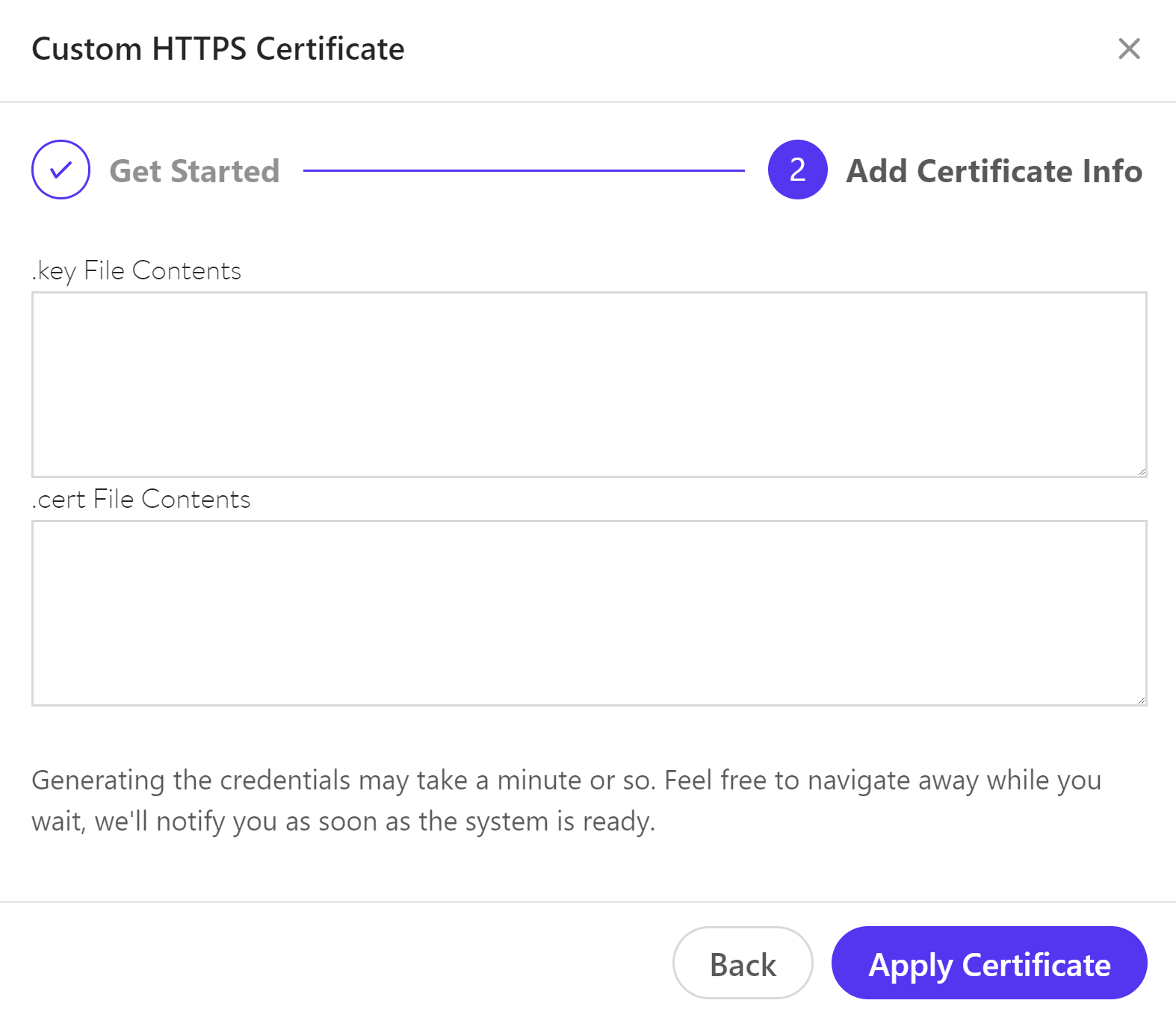 Apply certificate