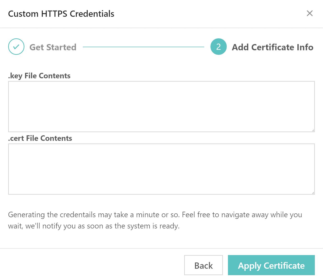 Apply certificate