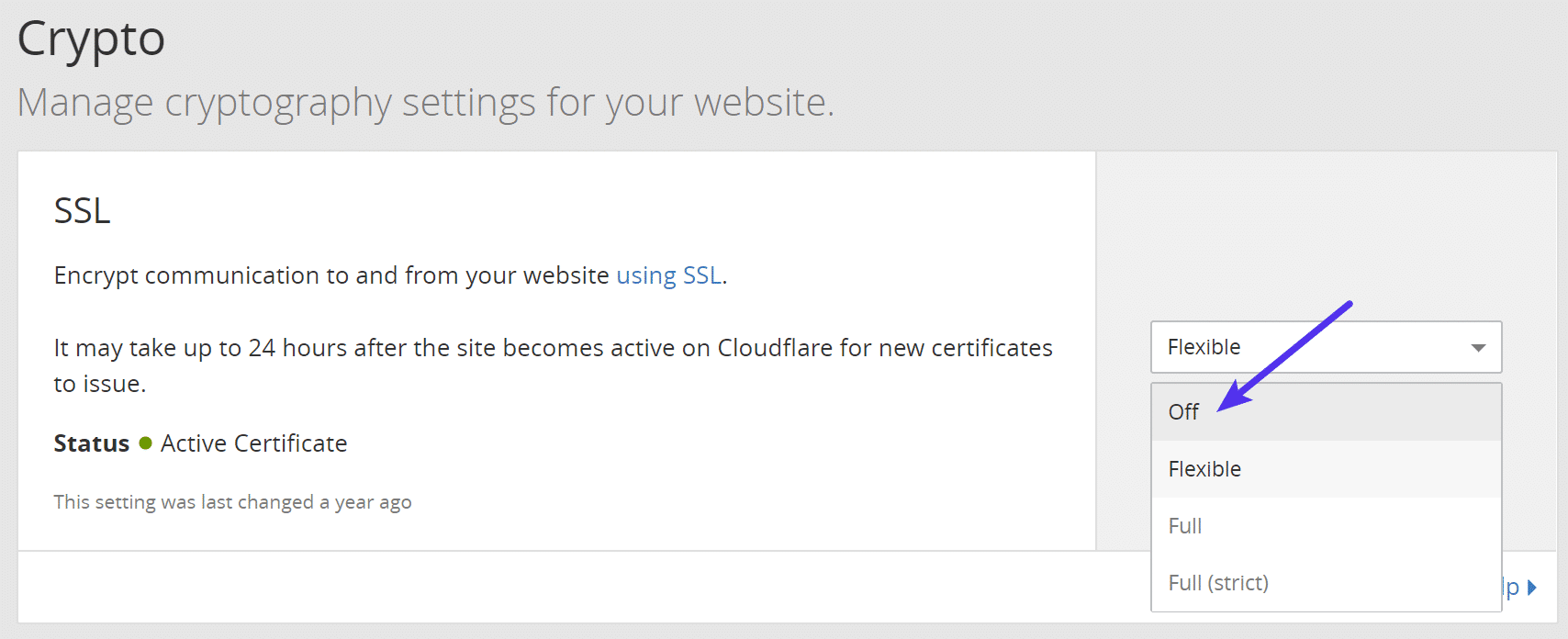 Turn off SSL in Cloudflare