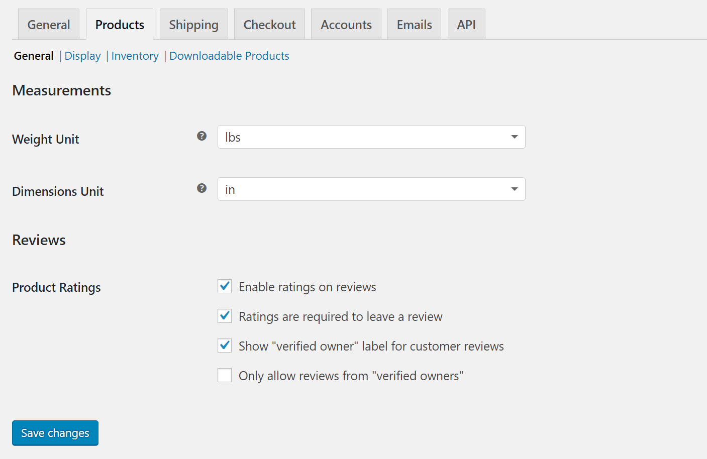 settings woocommerce products