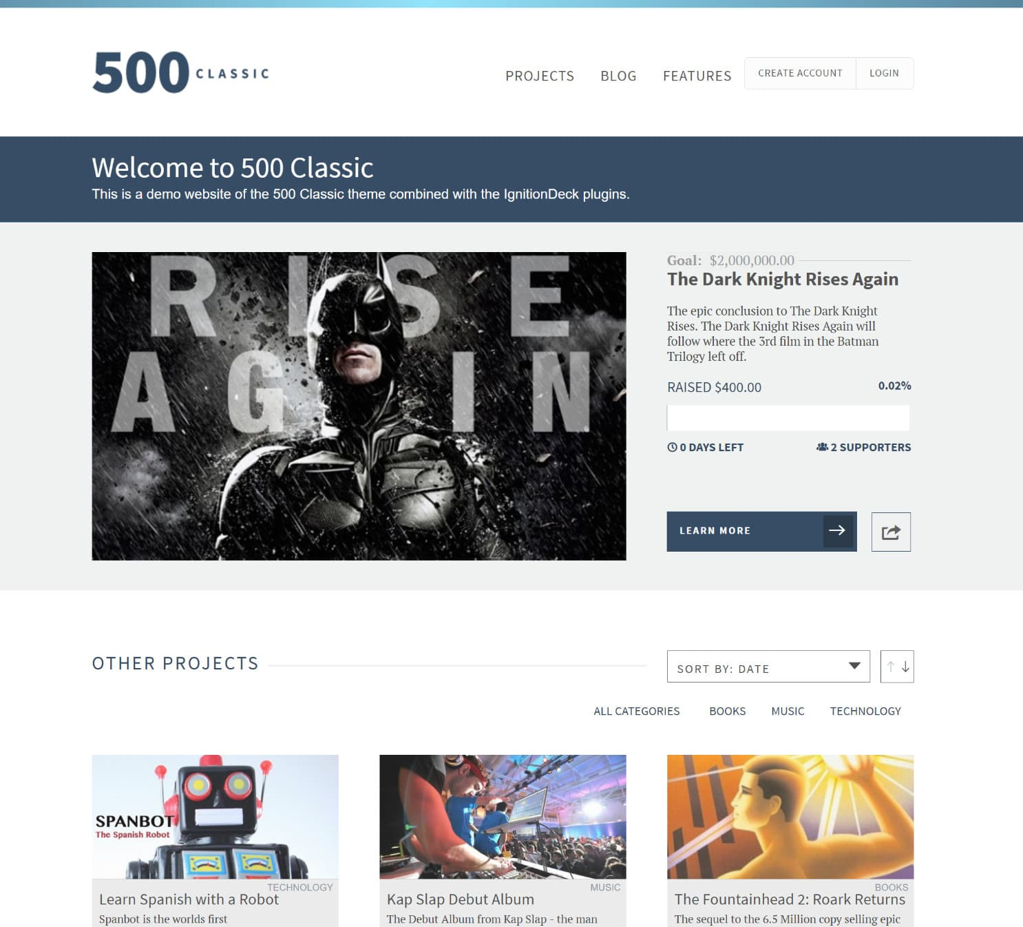 500 classic wordpress crowdfunding theme