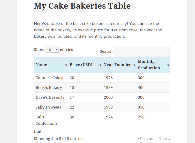 how to create table wordpres