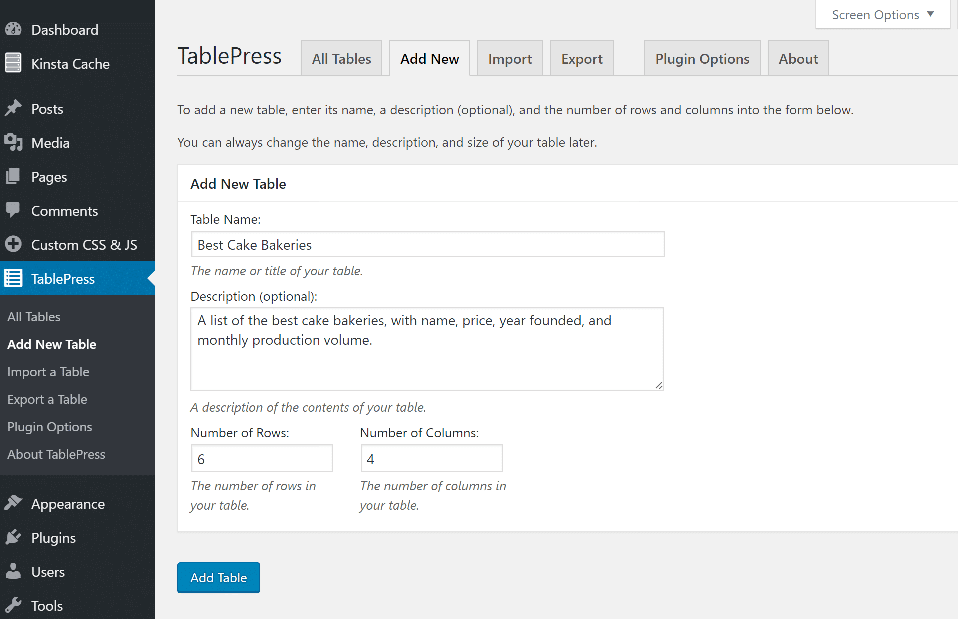 Add new table in TablePress