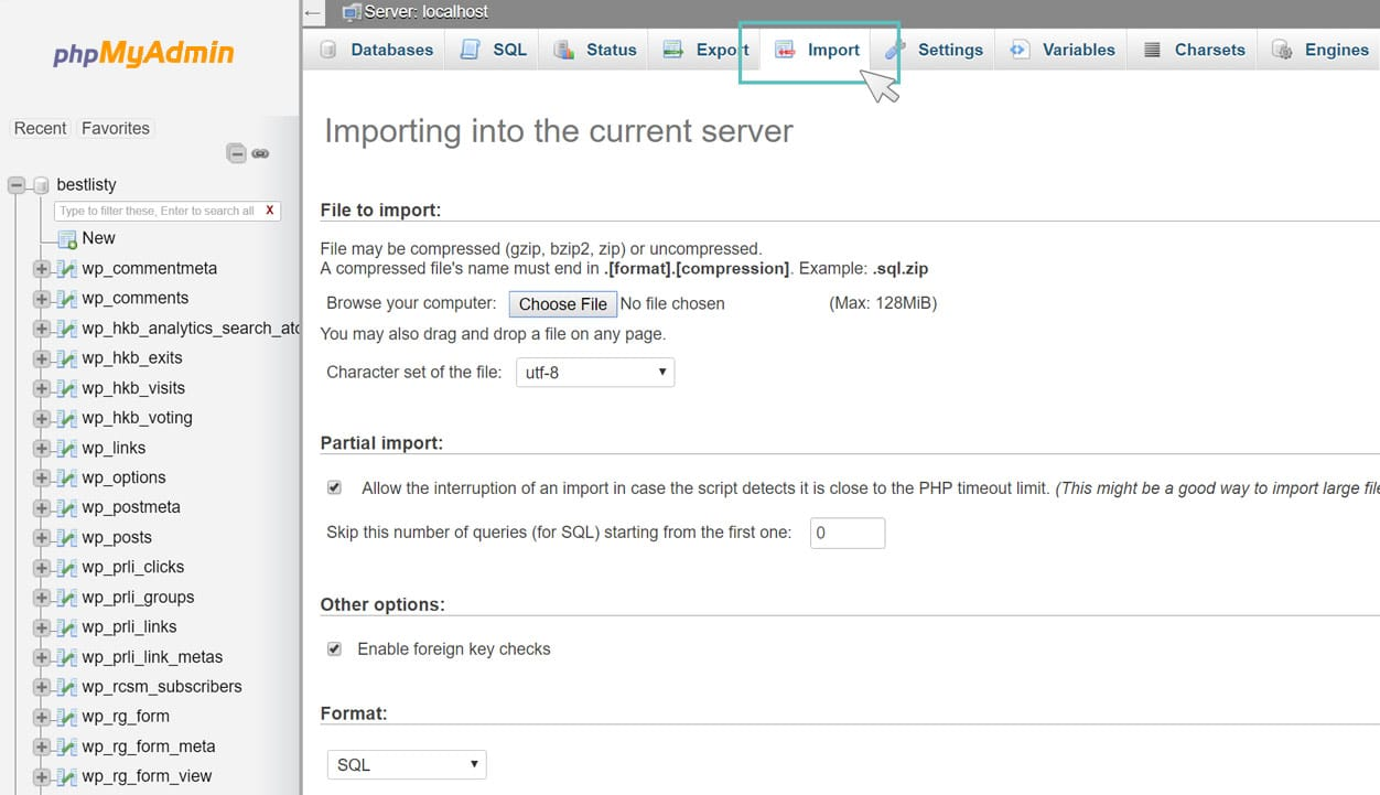 wordpress migration - import database phpmyadmin
