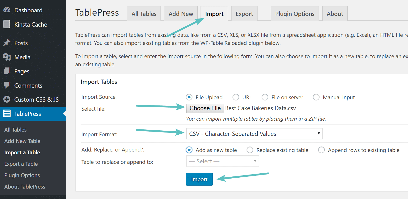 Import table in TablePress