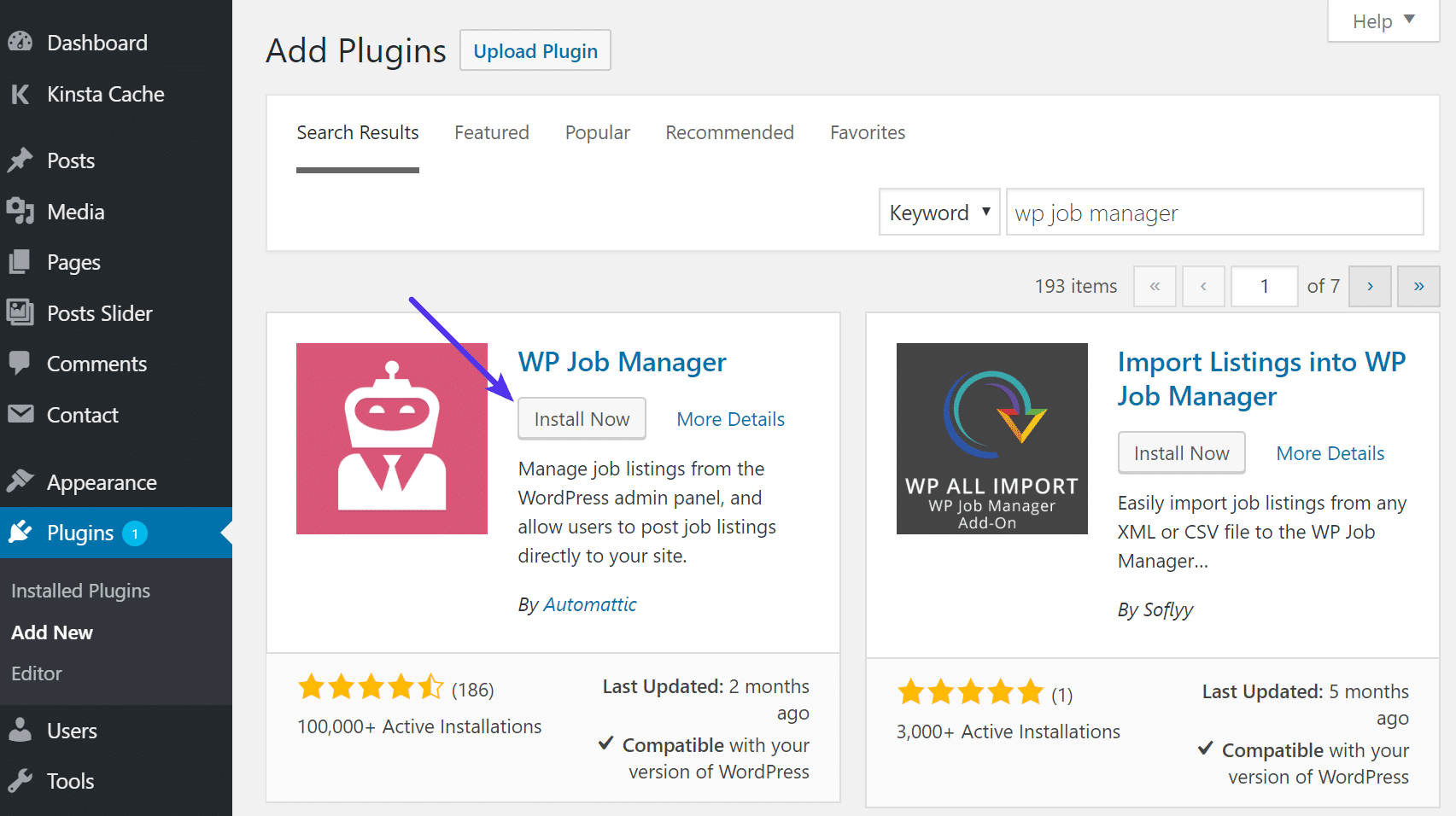 Install WP Job Manager plugin