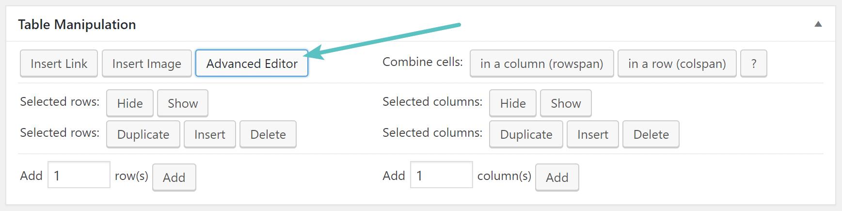 TablePress advanced editor