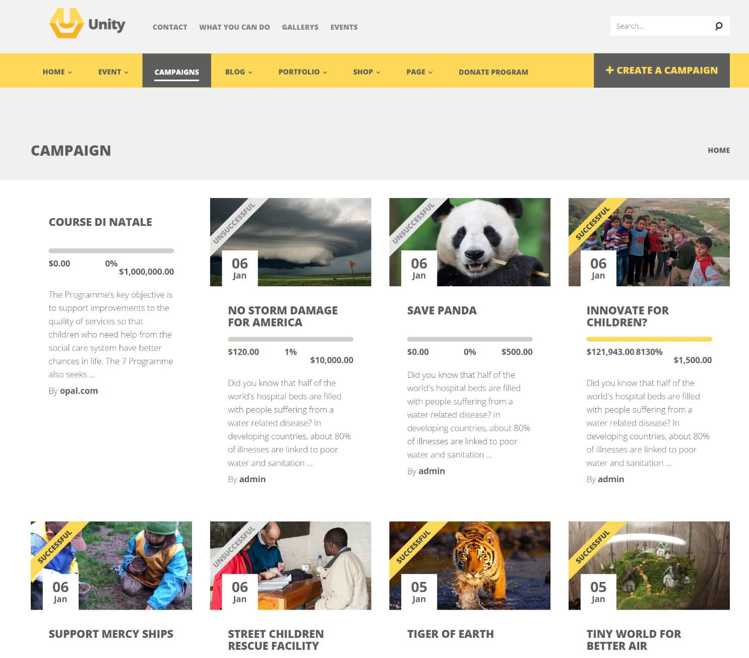 unity wordpress crowdfunding theme