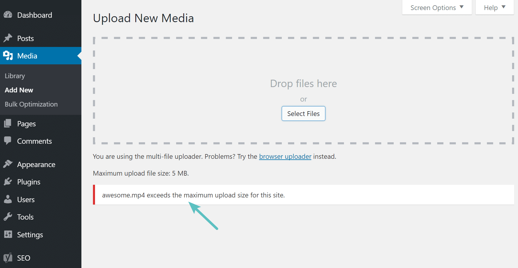 max upload size error in wordpress