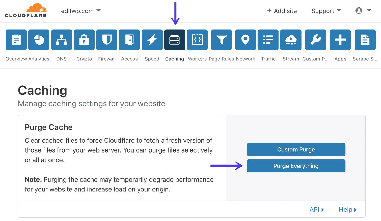 Vider le cache Cloudflare