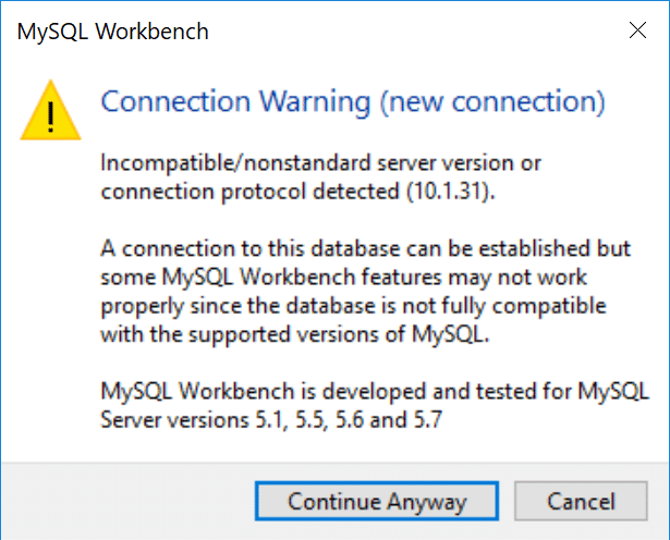MySQL Workbench connection warning