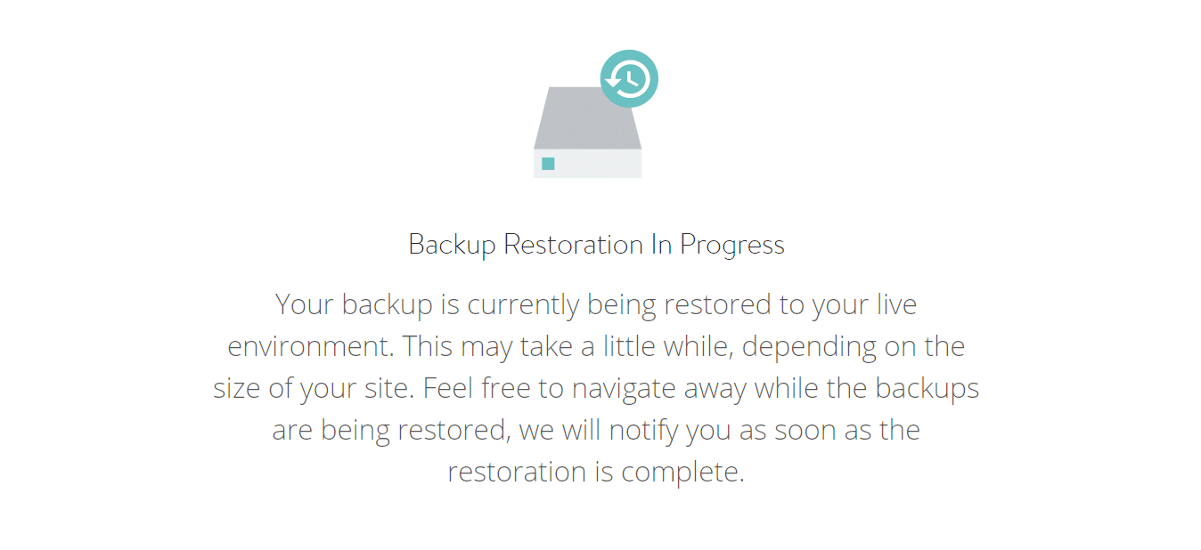 WordPress backup in progress