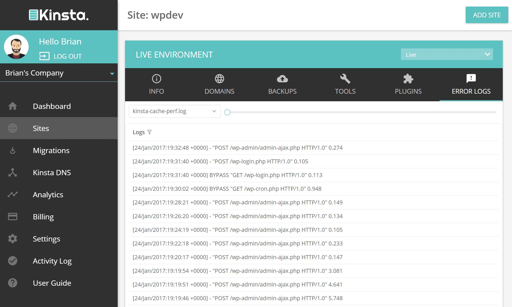 wordpress cache log