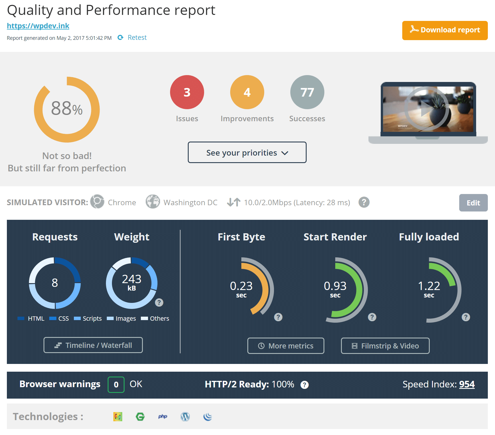 dareboost speed test report