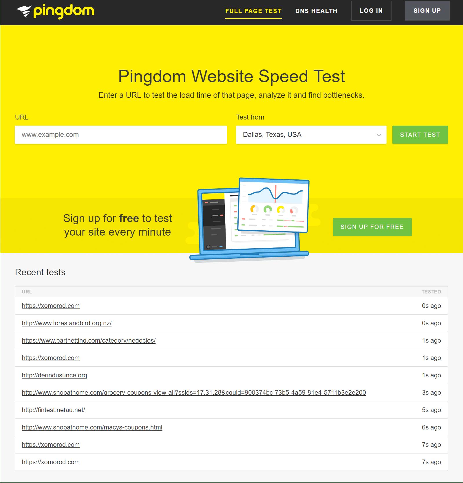 pingdom website speed test tool