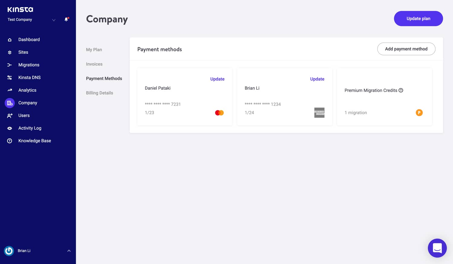 Add multiple credit cards in MyKinsta.