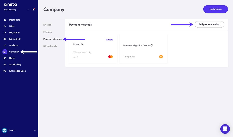 Add a payment method in MyKinsta.