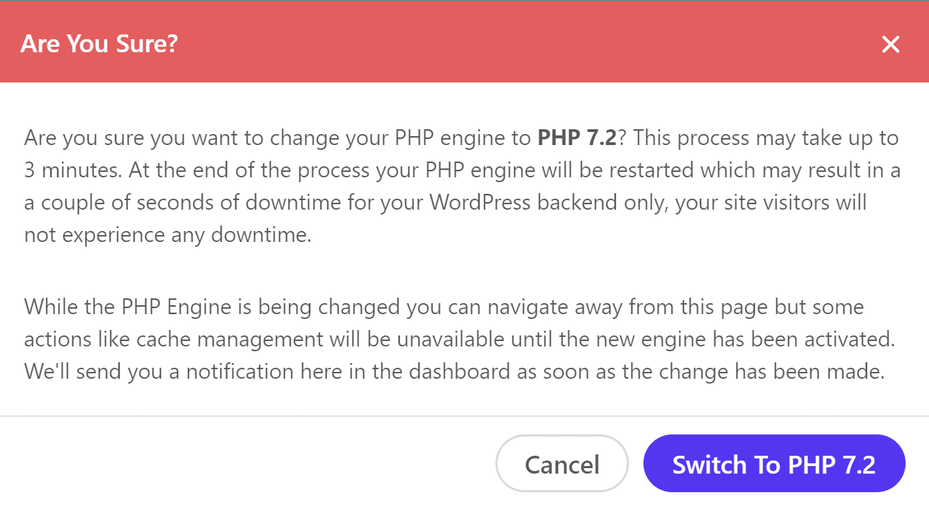 Switch to PHP 7.2