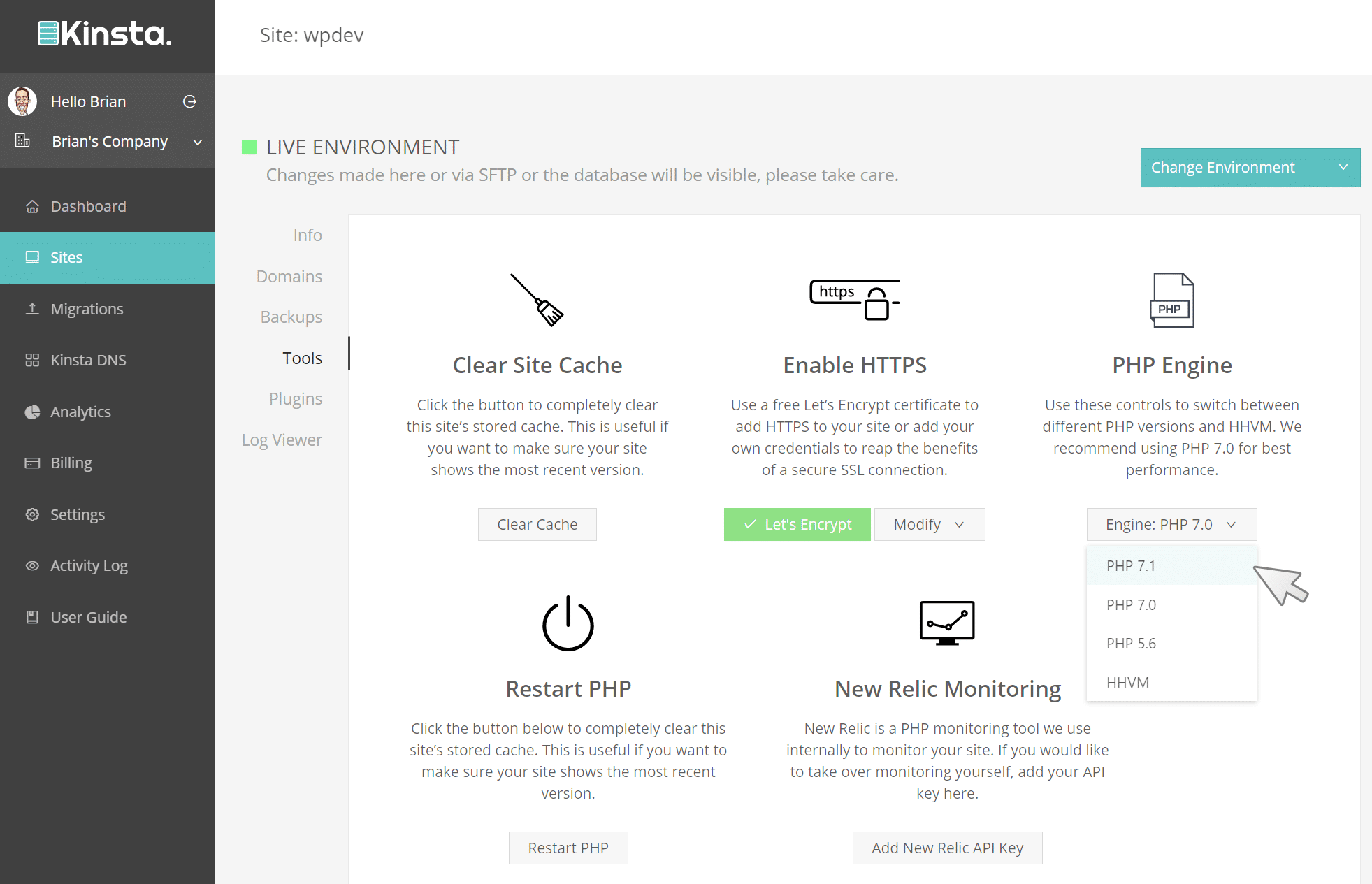 Changing the WordPress PHP version on Kinsta
