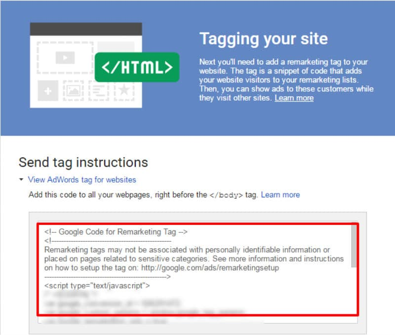 HTML tagging remarketing
