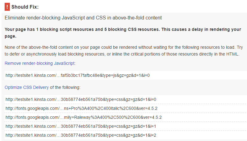 screenshot of pagespeed test with jch plugin