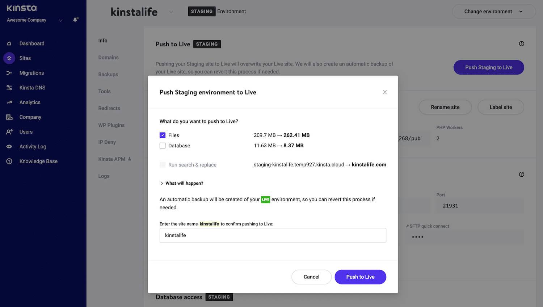 Brug Selective Push til at skubbe filer fra iscenesættelse til live.
