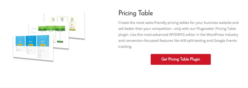 Plugmatter Pricing Table Pro