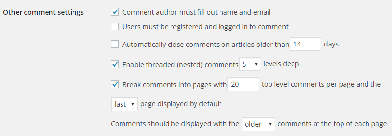 screenshot of other comment settings in WordPress admin optimize your website 2020