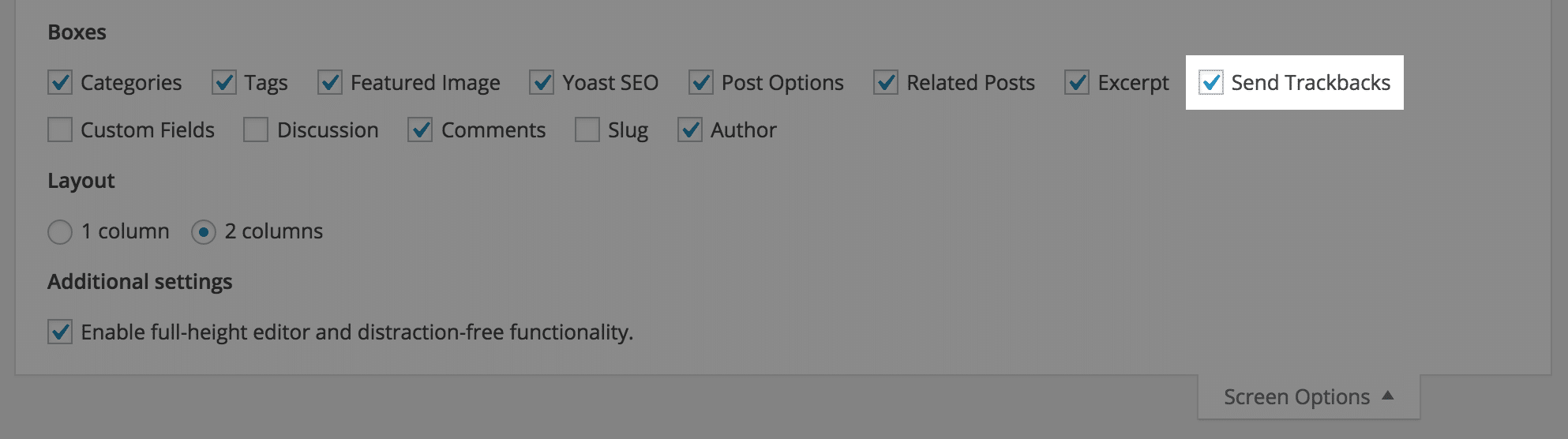 Trackback view setting in WordPress screen options section